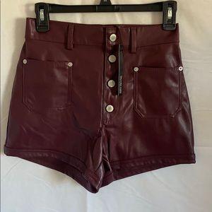 Faux leather burgundy shorts
